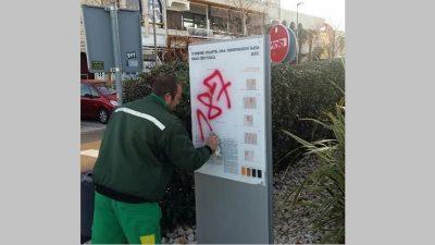 Grafitima po spomeniku hrvatskih branitelja